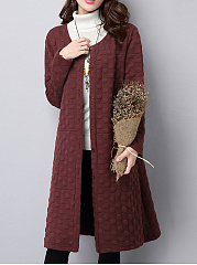 Collarless Plain Polka Dot Embossed Pocket Longline Coat