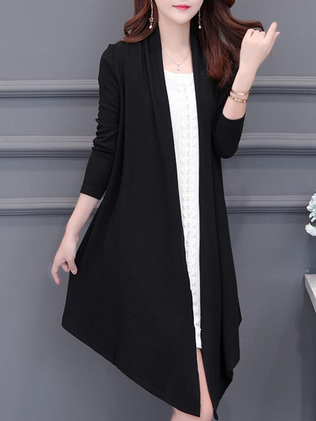 Image of Fashionmia Asymmetric Hem Plain Knit Cardigans