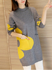Round Neck  Knit Knitted Dresses