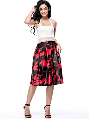 Elastic Waist Flared Midi Skirt In Abstract Print