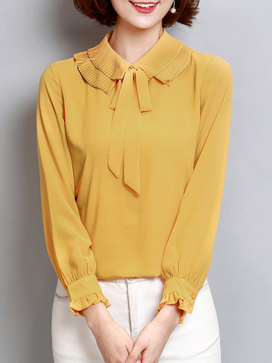 Plain Bowknot Hollow Out Chiffon Blouse