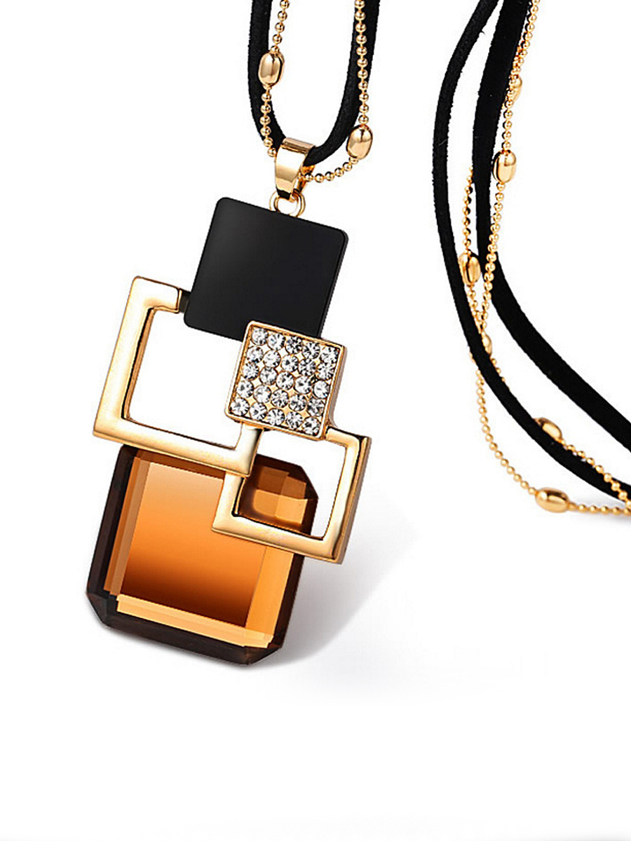 Squared Crystal Layer Necklace