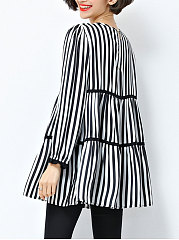 Spring Summer  Blend  Women  Round Neck  Patchwork  Striped  Long Sleeve Blouses