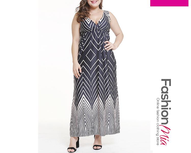 V-Neck  Colouring Plus Size Midi  Maxi Dress