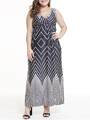 V-Neck  Colouring Plus Size Midi & Maxi Dress
