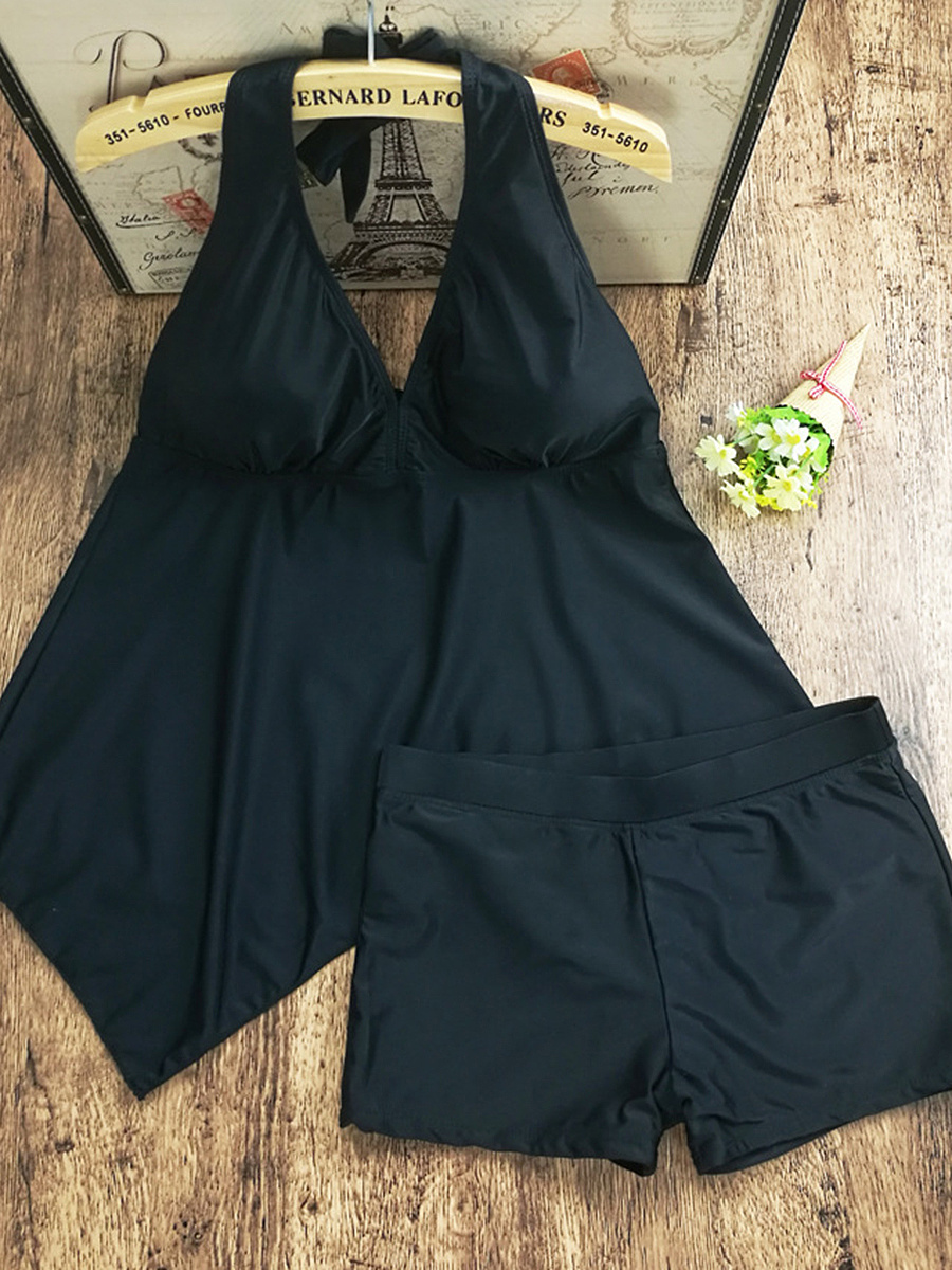 Halter Solid Swimwear In Black