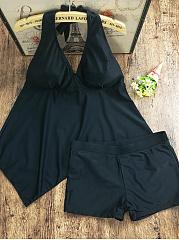 Halter-Solid-Swimwear-In-Black
