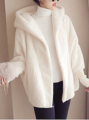 Hooded  Plain  Raglan Sleeve  Long Sleeve Coats