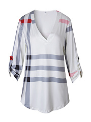 V-Neck  Plaid  Half Sleeve Plus Size T-Shirts