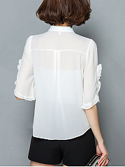 Turn Down Collar  Ruffle Trim  Plain Blouse