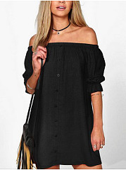 Plain Off Shoulder Shift Dresses