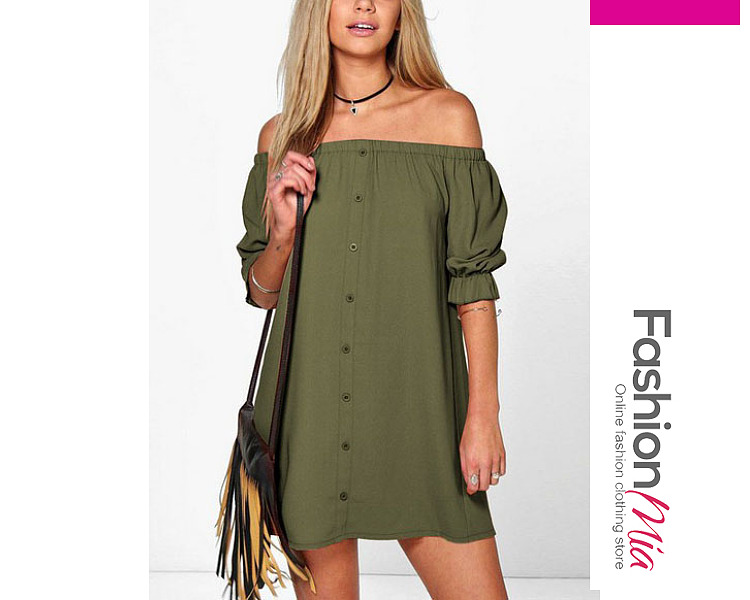 Plain Off Shoulder Shift Dresses