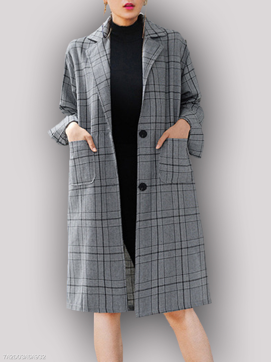 Notch Lapel  Single Breasted Slit Pocket  Houndstooth  Long Sleeve Trench Coats