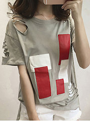 Summer  Polyester  Women  Round Neck  Color Block Hollow Out Short Sleeve T-Shirts