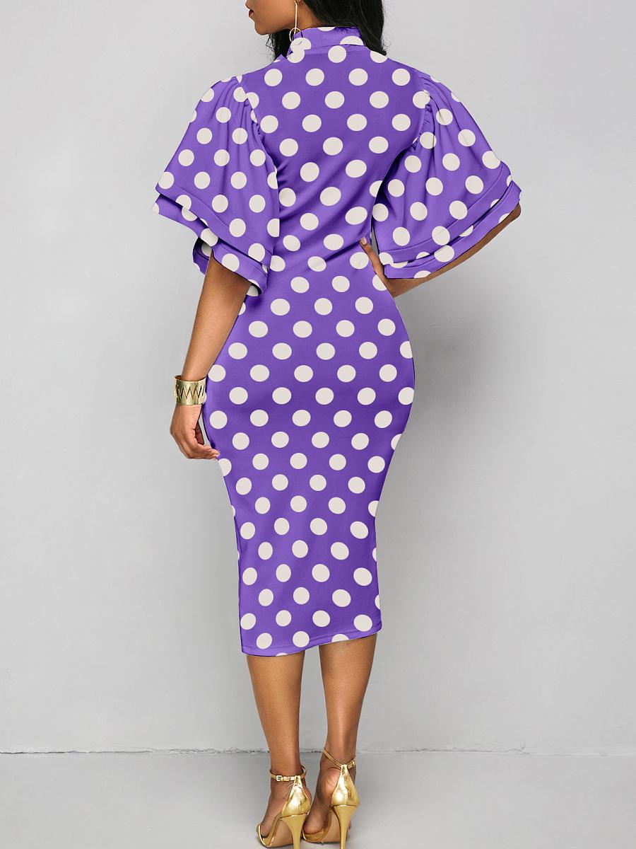 Tie Collar  Polka Dot Bodycon Dress Purple Charming.