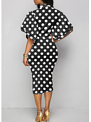 Tie Collar  Polka Dot Bodycon Dress Purple Charming.