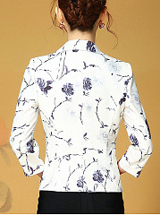 Notch Lapel Floral Printed Single Button Blazer