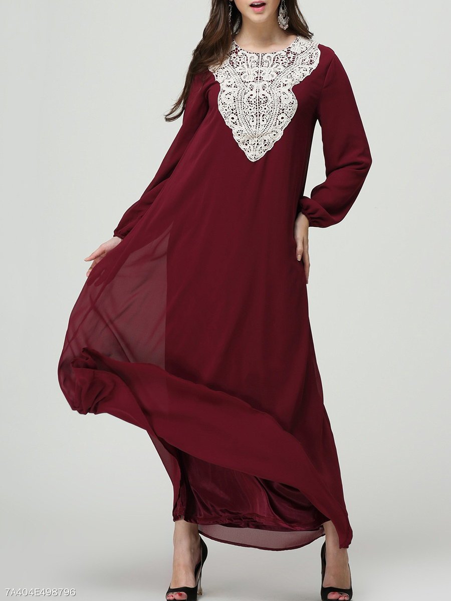 Round Neck Color Block Decorative Lace Chiffon Maxi Dress