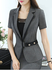 Narrow Notch Lapel  Single Button  Plain  Short Sleeve Blazers