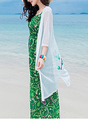 See-Through Bird Flower Printed Longline Kimono