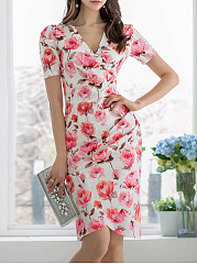 Surplice  Floral Bodycon Dress