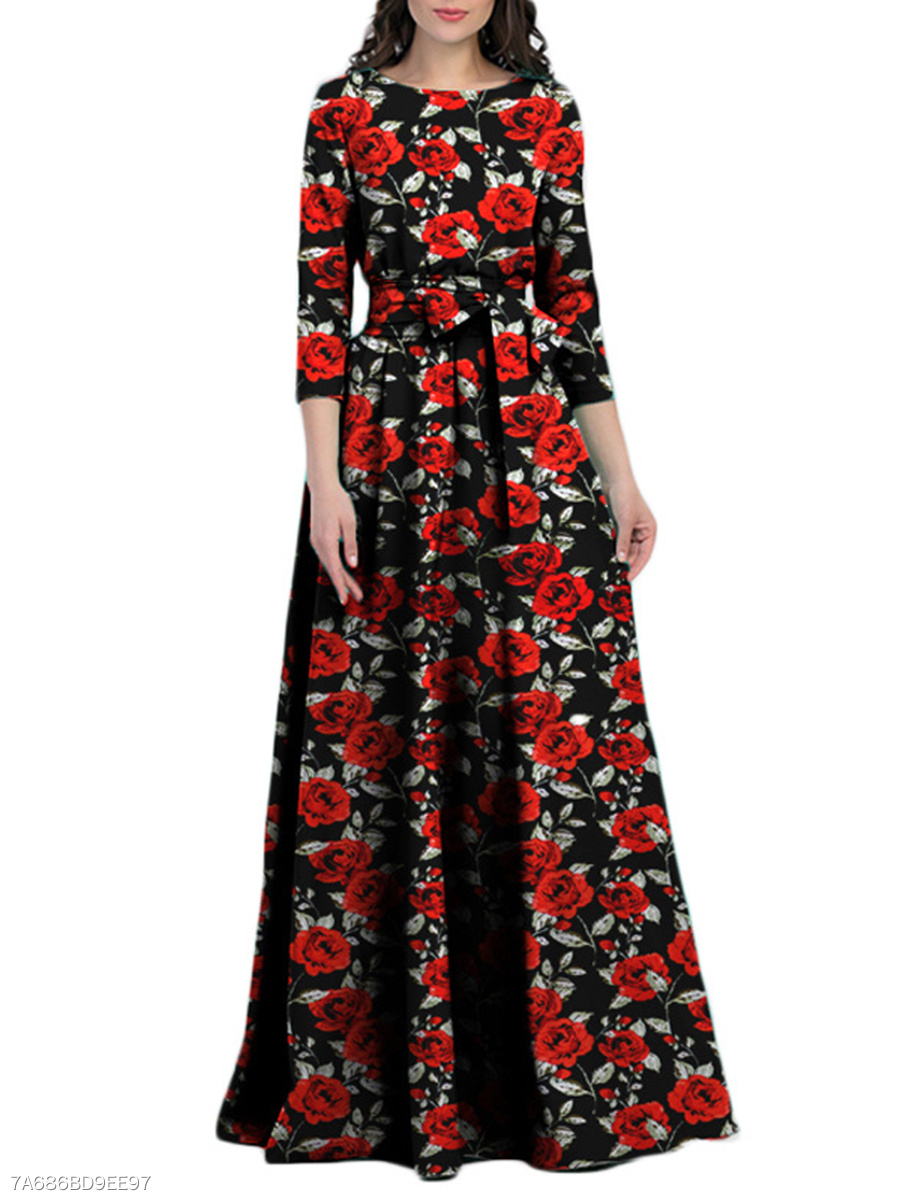 Round Neck  Belt  Floral Maxi Dress