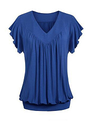 V-Neck  Plain  Short Sleeve Plus Size T-Shirts