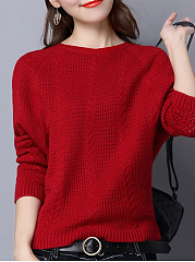 Round Neck  Loose Fitting  Plain  Batwing Sleeve Pullover