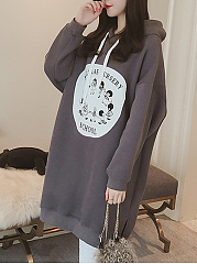 Loose Cartoon Printed Hoodie Dress