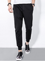 Mens-Casual-Black-Elastic-Waist-Pegged-Jogger-Pants