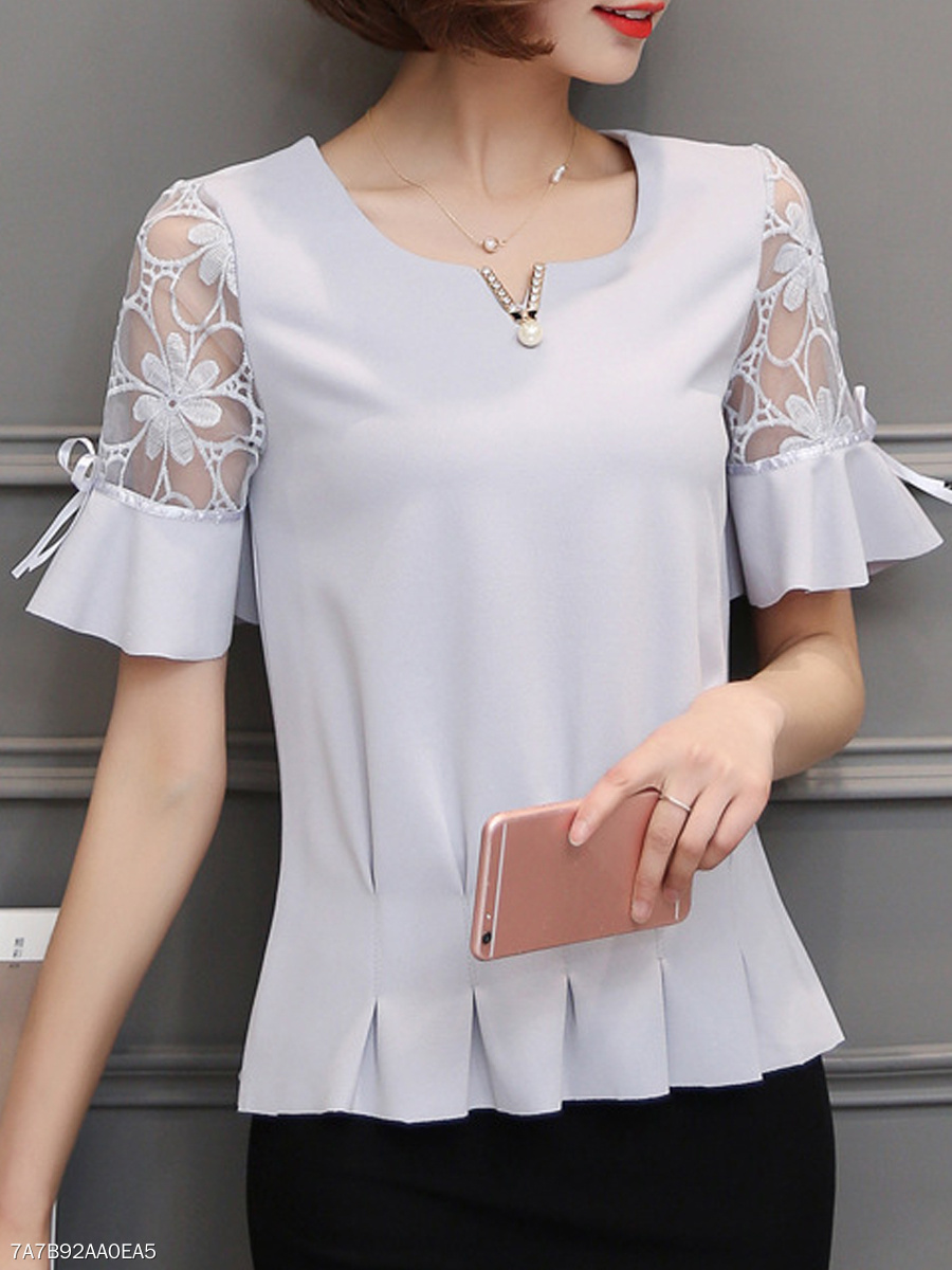 Spring Summer  Polyester  Women  V-Neck  Decorative Lace  Plain  Tie Sleeve  Short Sleeve Blouses