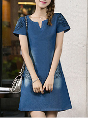 Sweet Heart  Patch Pocket  Plain Shift Dress