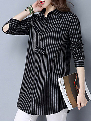 Loose Vertical Striped Bow Blouse