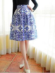 Blue-And-White-Porcelain-Printed-Flared-Midi-Skirt