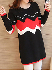 Crew Neck  Wave Stripe Pullover