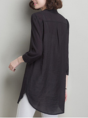 Longline V-Neck Curved Hem Plain Long Sleeve T-Shirt