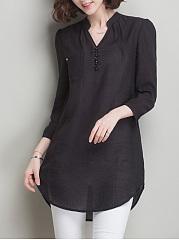 ... Longline V-Neck Curved Hem Plain Long Sleeve T-Shirt ...