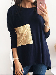 Autumn Spring  Polyester  Women  Round Neck  Glitter  Plain Long Sleeve T-Shirts