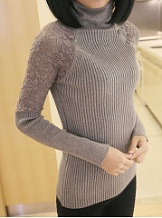 Turtleneck  Patchwork  Plain Pullover