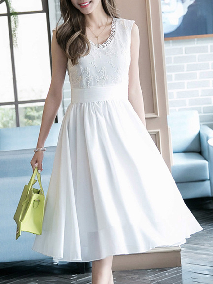 V-Neck Decorative Lace Plain Chiffon Midi Skater Dress