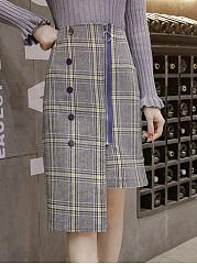 Plaid-Asymmetric-Hem-Zips-Straight-Midi-Skirt
