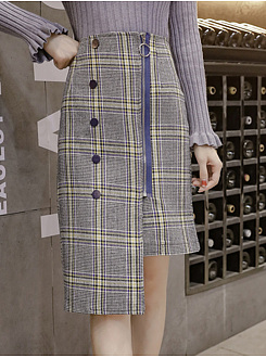 Plaid Asymmetric Hem Zips Straight Midi Skirt