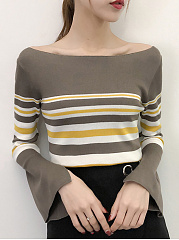 Round Neck  Striped  Bell Sleeve  Long Sleeve Sweaters Pullover