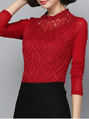 Crew Neck  Patchwork  Lace Long Sleeve T-Shirts
