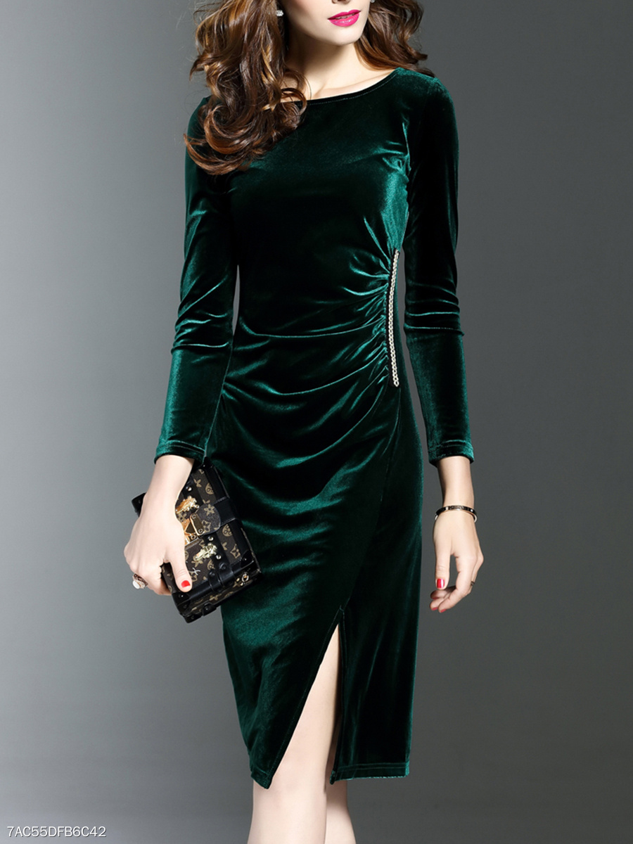 Ruched Solid-Color Velvet Slit Bodycon Dress