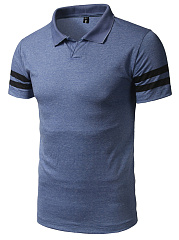 Men Simple Polo Collar  Striped T-Shirt