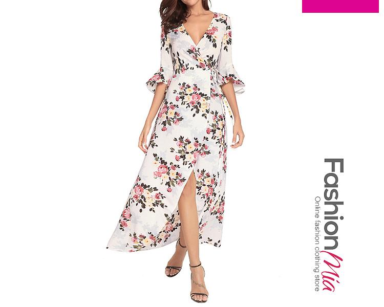 Surplice  Slit  Printed Maxi Dresses
