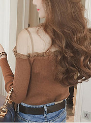 Round Neck  Decorative Lace See-Through  Plain  Long Sleeve Sweaters Pullover