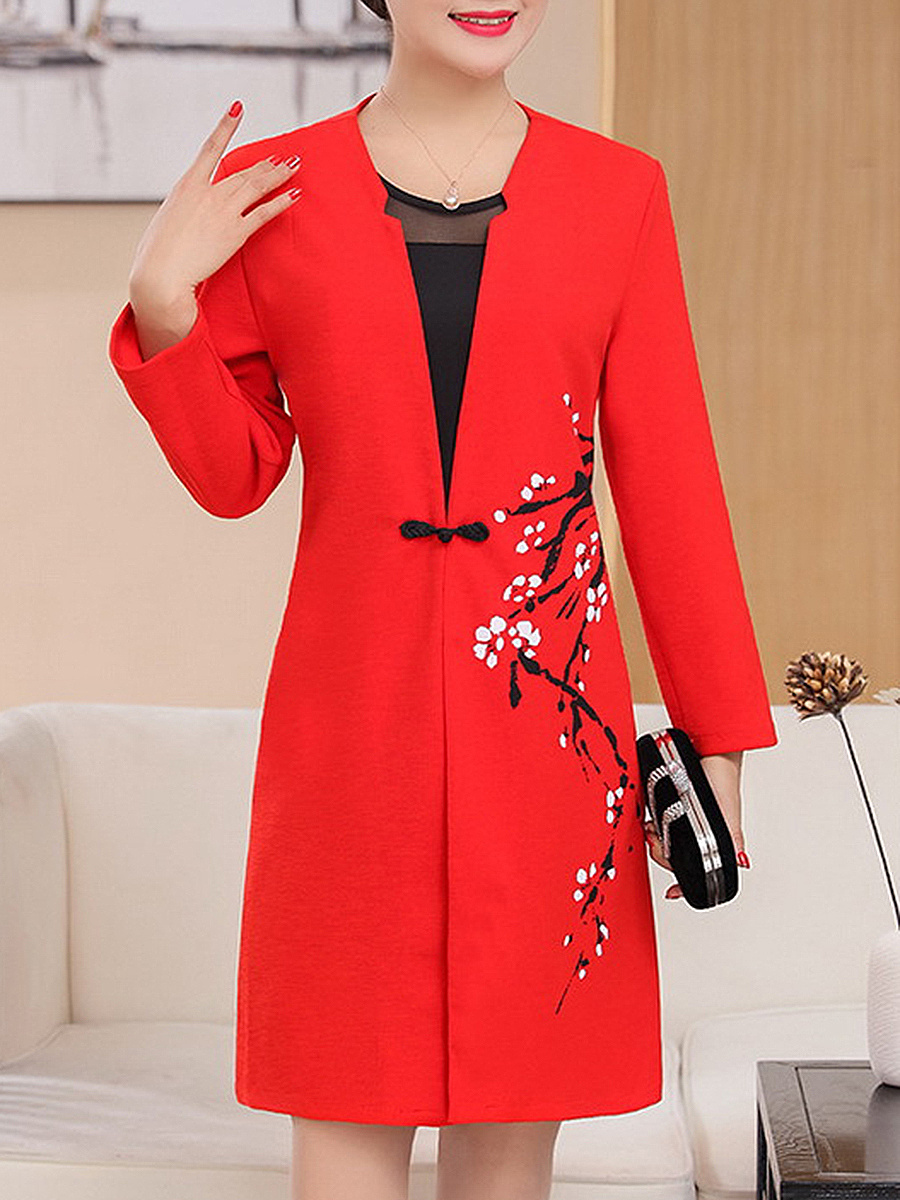 Collarless Single Button Floral Printed Trench Coat