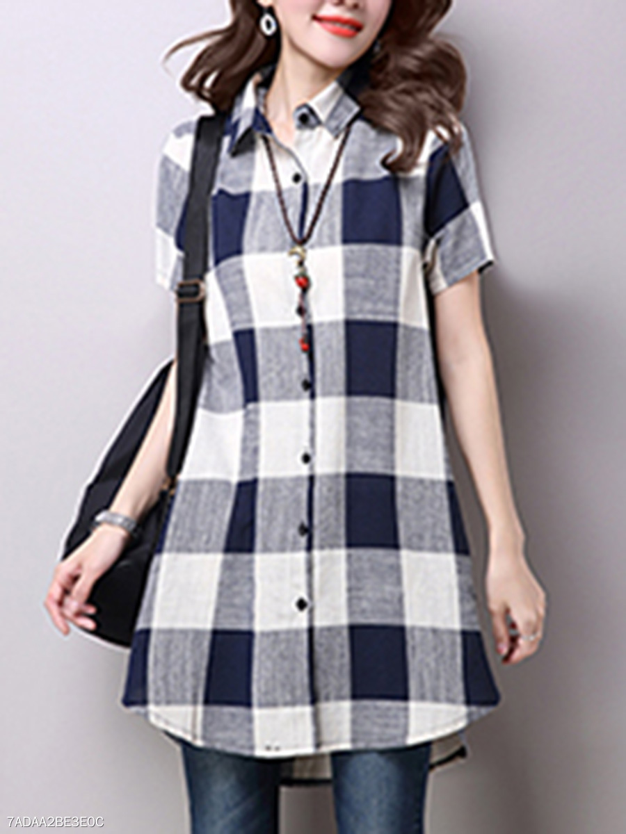 Turn Down Collar  Plaid Shift Dress